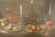 Magini Carlo, Natura morta: pane, cipolle, candeliere, bottiglie