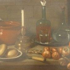 Carlo Magini (Fano, 1720 - 1806), Natura morta con formaggi, cipolle, candeliere e bottiglie