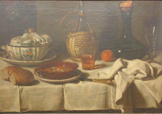 Magini Carlo, Natura morta: zuppiera, tegame, uova e bottiglia