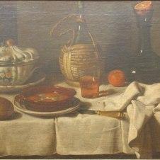 Carlo Magini (Fano, 1720 - 1806), Natura morta con zuppiera, uova al tegame e bottiglia