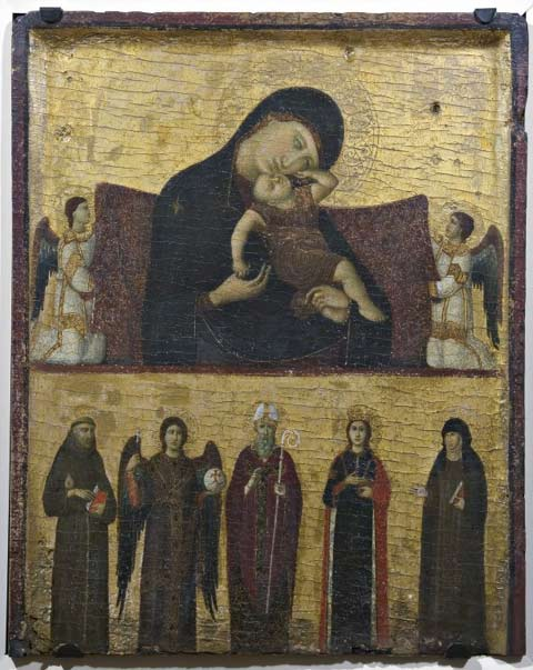 Giovanni da Rimini, Madonna with Child, two Angels and Saints Francis, Michael the Archangel, Augustine, Catherine, and Clare