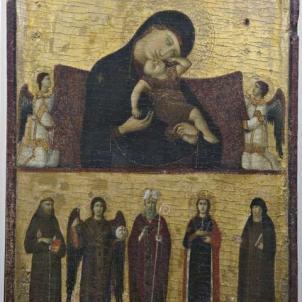 Giovanni da Rimini (sec. XIII - XIV), Madonna col Bambino, due Angeli e i Santi Francesco, Michele Arcangelo, Agostino, Caterina e Chiara