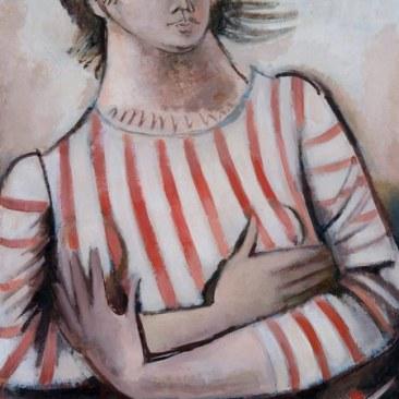 GIANNA BOSCHI (1913 -1986), Figura femminile, veste a righe, bianca e rossa