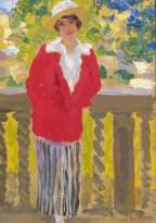 CARLO CORSI (1879 – 1966) Donna in rosso