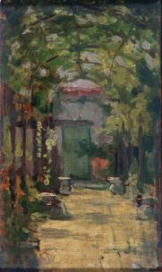 ANGELO TORCHI (1856-1915) Il pergolato Olio su tavola, cm 21 x 12,5 Inv. n. 1255 Provenienza: donazione Golfieri, 1989