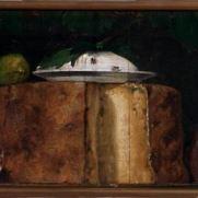 ANONIMO LOMBARDO (secolo XIX) Formaggio, ricotta e salami Olio su tavola, cm 28 x 54 Collezione privata Ampolla d'olio d'oliva, formaggi e salami Olio su tavola, cm 59,5 x 78 Collezione privata