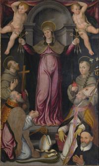 Madonna delle Grazie con S.Francesco d'Assisi, Sant'Antonio di Padova, San Savino, Sant'Apollinare e il committente don Rondinini