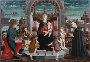 Maestro della Pala Bertoni, Madonna col Bambino, putti musicanti, S. Giovanni Evangelista e il Beato Giacomo Filippo Bertoni