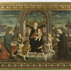 Maestro della Pala Bertoni, Madonna col Bambino, putti musicanti, San Giovanni Evangelista e il Beato Giacomo Filippo Bertoni