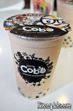 Cobo Milk Tea: black tea with milk and pearl (Php 39  for 12 oz. Php 49 for 16 oz, and Php 59 for 22 oz)