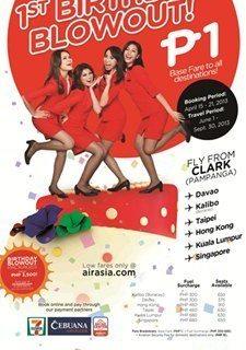 AirAsia Piso Fare for all destinations starting April 15, 2013.