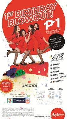 AirAsia Piso Fare for all destinations starting April 15, 2013.