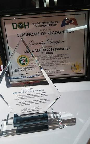 Up Close: Plaque and Certificate of Recognition awarded to Generika Drugstore