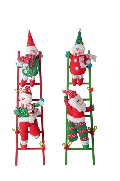 Snowman climbing ladder