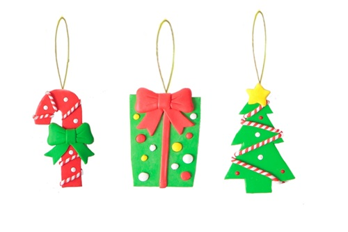 Candy cane, gift box and Christmas tree clay ornaments