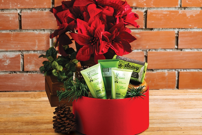The Poinsettia includes Nature's Gate Moisturizing Liquid Soap, Andalou Face Mask, Soothing Touch Body Scrub, Ala Maison Bar Soap. Php 1095