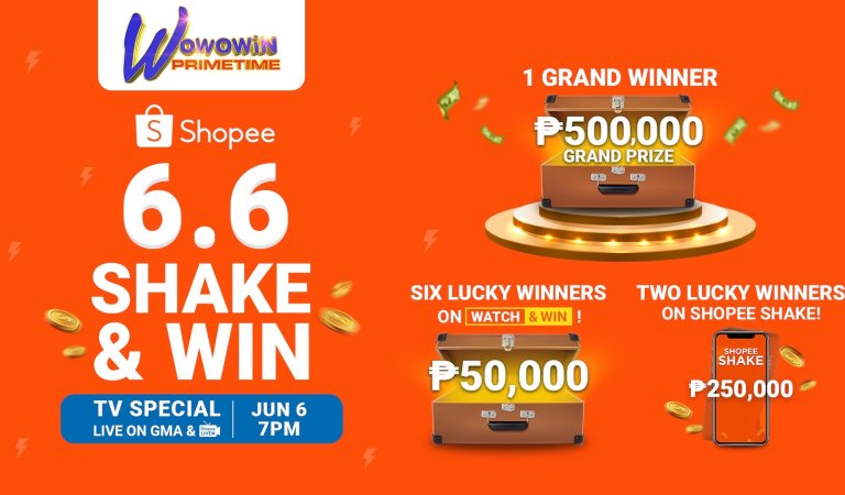 Catch the Shopee 6.6 Shake & Win TV Special on Wowowin Primetime and Win A Total of ₱1.3 Million in Cash