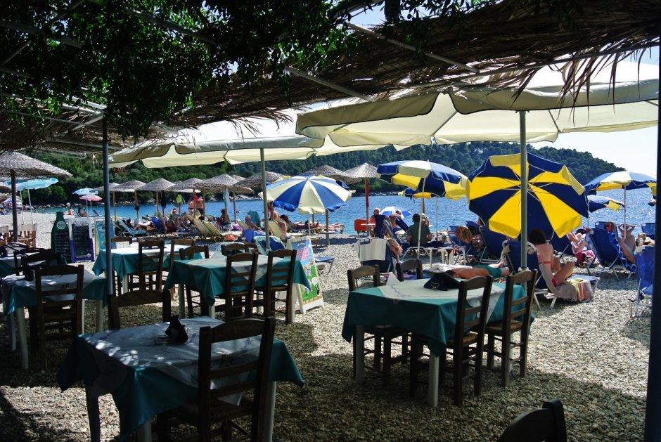 Nikos Taverna in Panormos beach, Skopelos