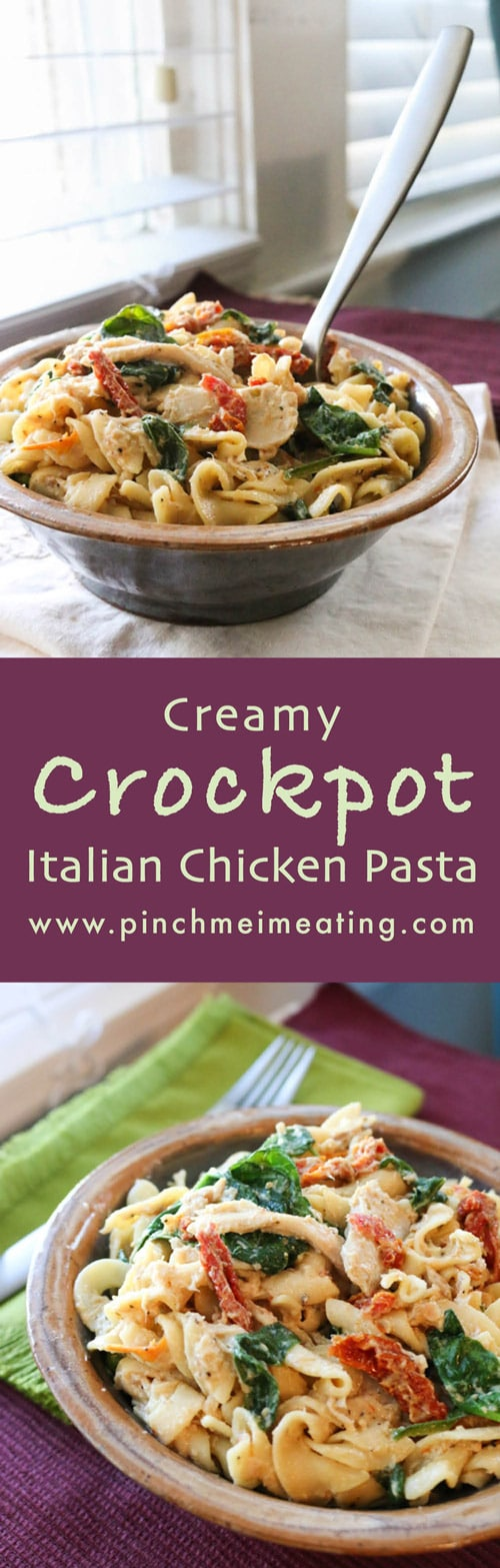 Creamy Crockpot Italian Chicken Pasta Pinch Me Im Eating