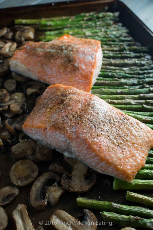One-pan salmon with asparagus, mushrooms, and balsamic brown butter sauce is the easiest, most delicious dinner - and it's ready in only 20 minutes! This is my new favorite meal!   www.pinchmeimeating.com