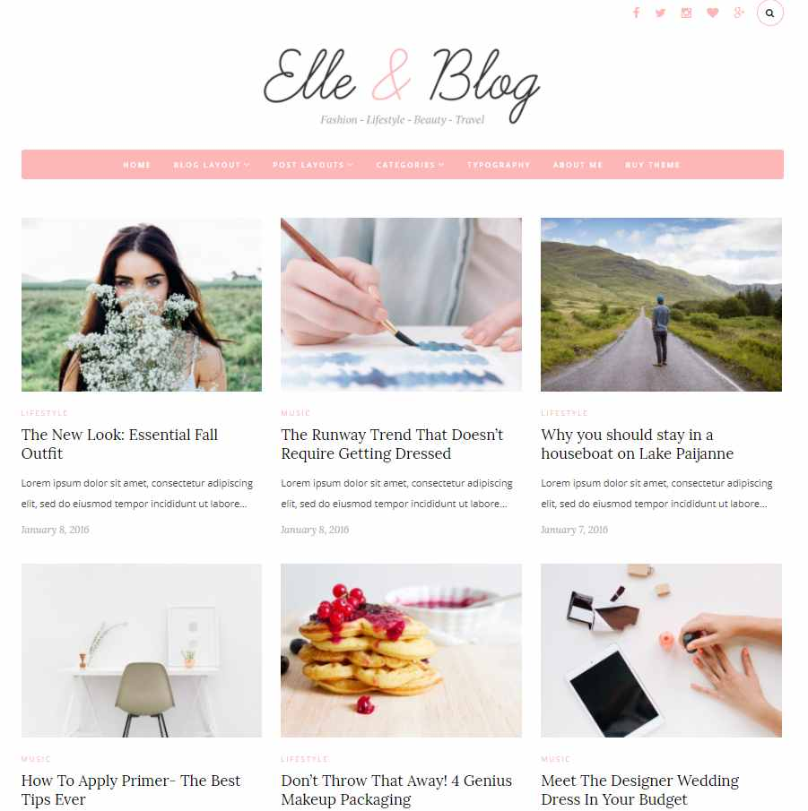 Elle & Blog - WordPress theme