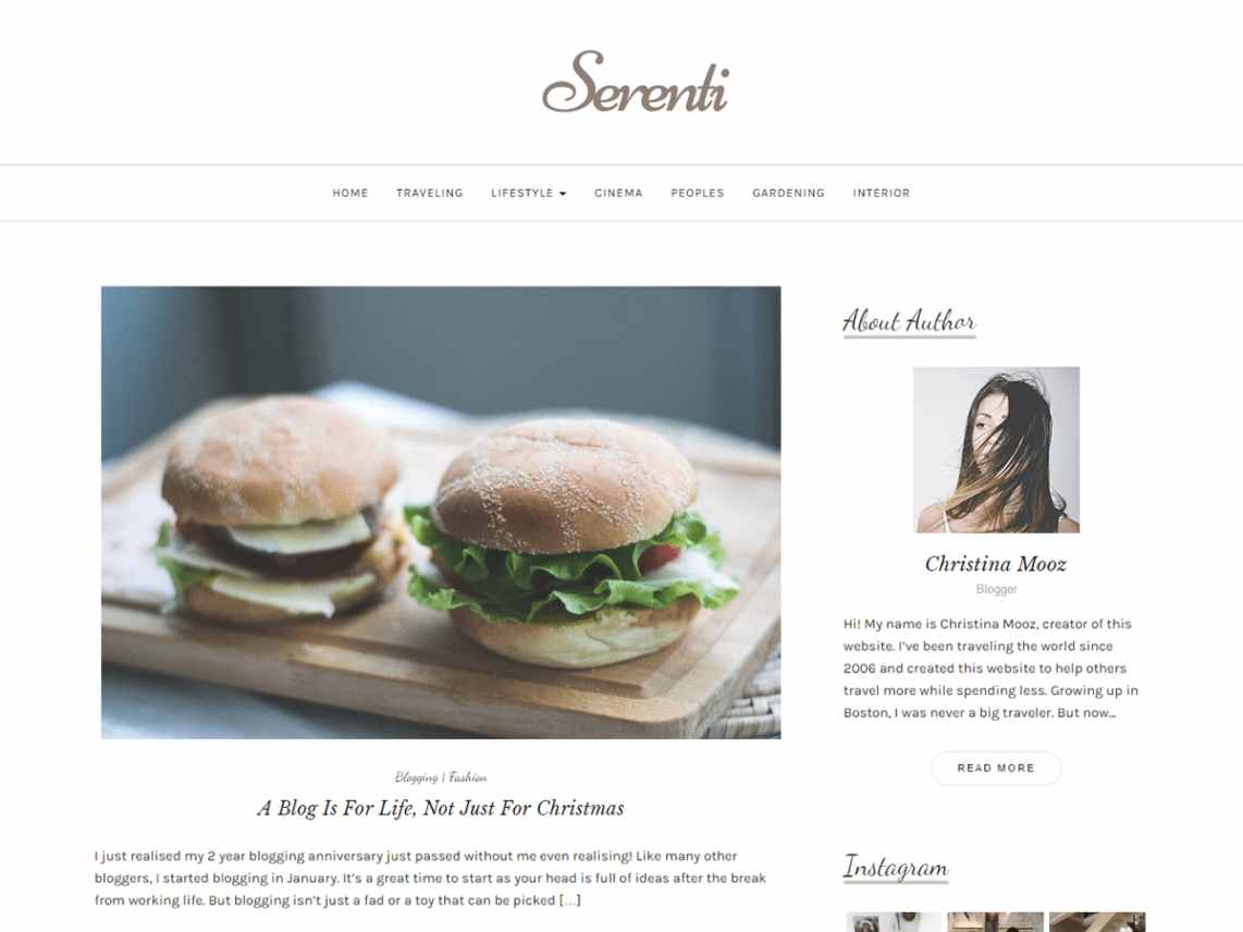 Serenti - free WordPress theme