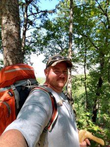 Selfie, backpacking in the woods.