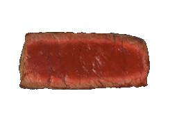 Cut view of a rare steak
