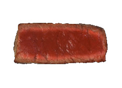 Cut view of a rare steak