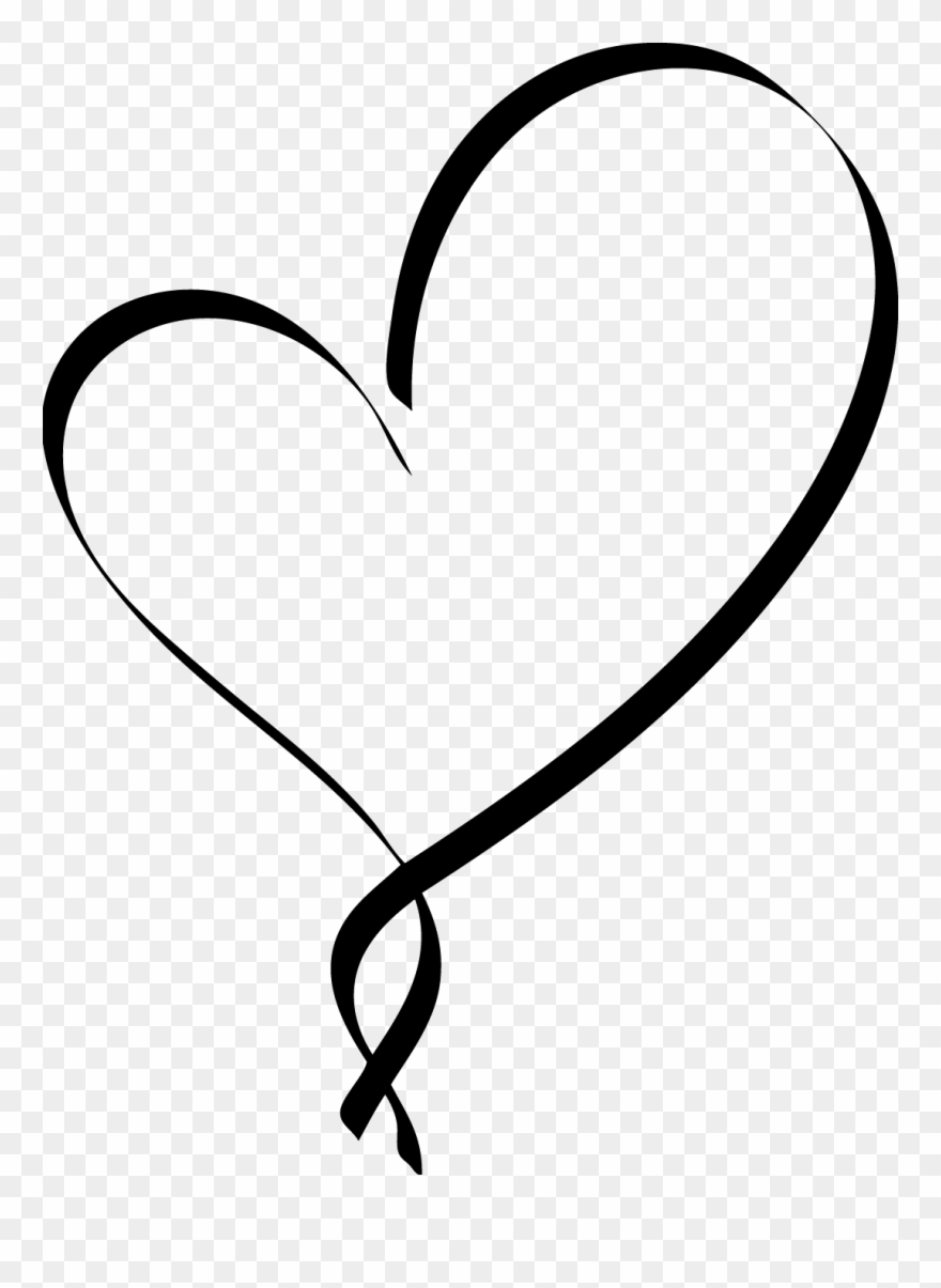 Download Heart Clipart Script - Fancy Black Heart - Png Download ...