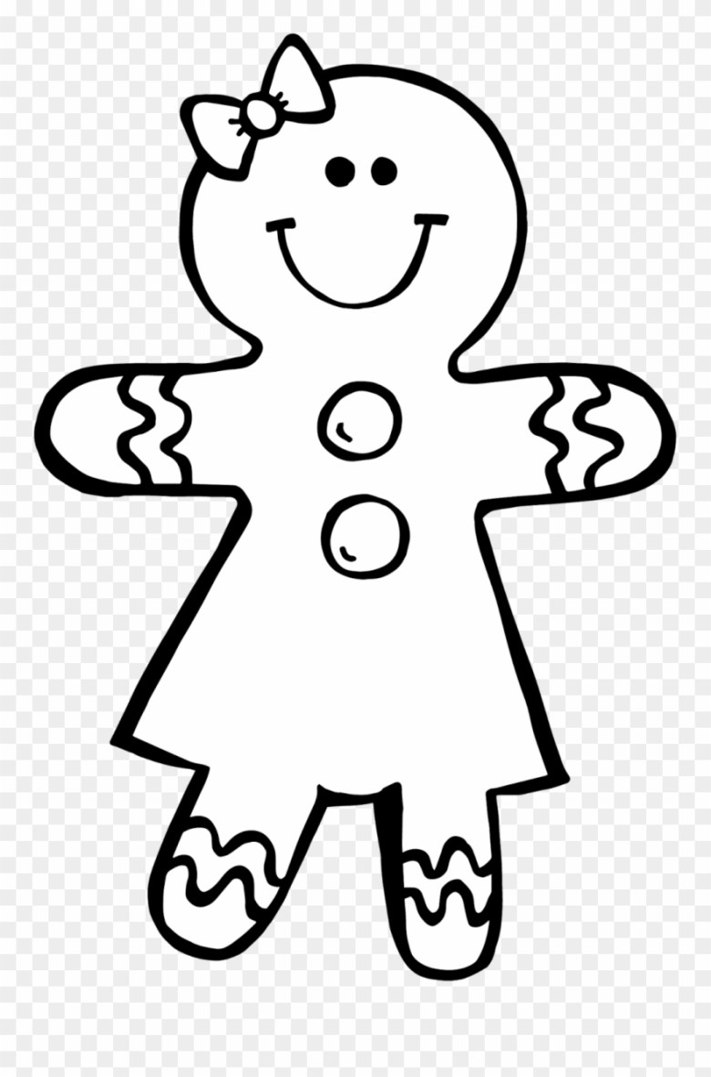 gingerbread man black and white clipart kid - gingerbread christmas