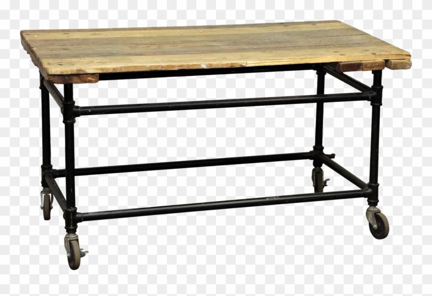 rustic work table wheels chairish