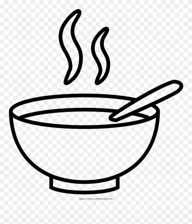 Soup Bowl Coloring Page - Soup Bowl Drawing Clipart (#18