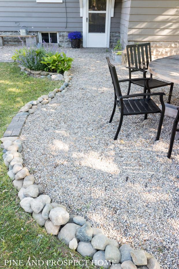 diy pea gravel patio tour pine and