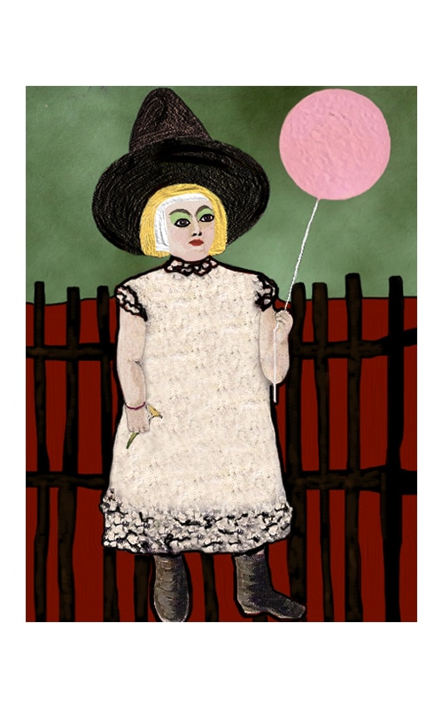 girl with balloon art print