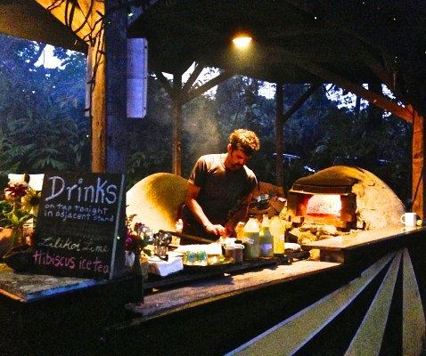 One of our favorite food stops...clay oven pizza in the jungle.