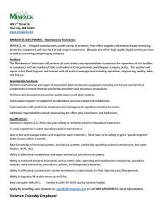 Job Description for Maintenance Technician at MINPACK