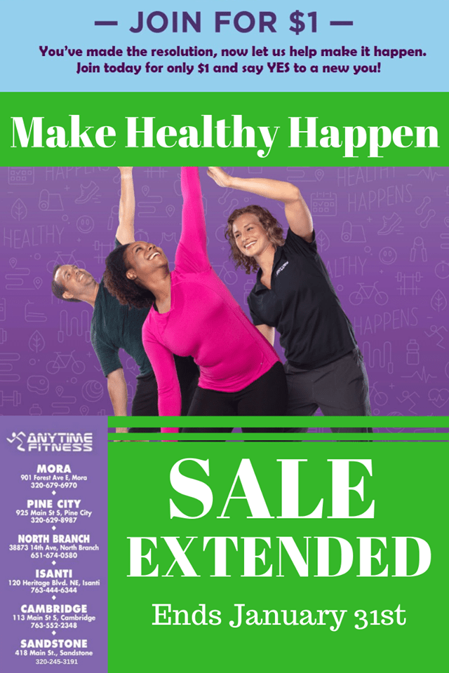 Join for $1 Sale with Pine City Anytime Fitness!