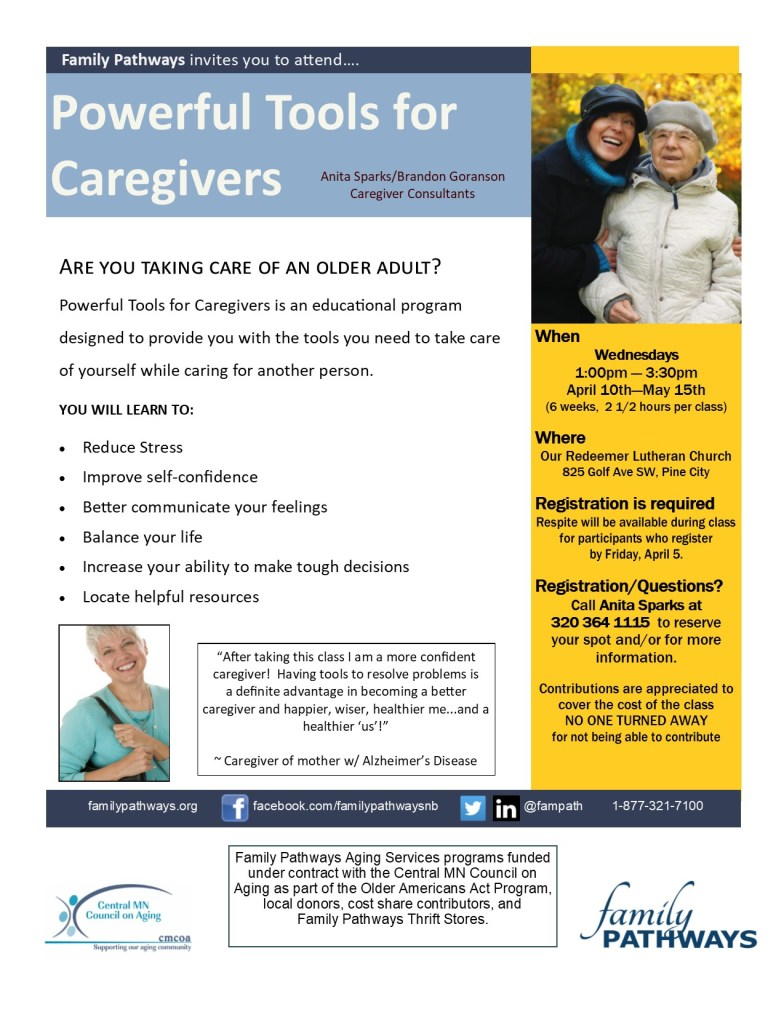 Family Pathways Aging Services class informational flyer