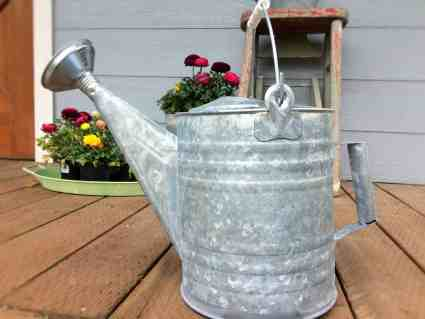 """A """"Vintage"""" Watering Can on the Porch."""