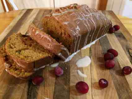 Enjoy a slice of Pumpkin Cranberry Bread