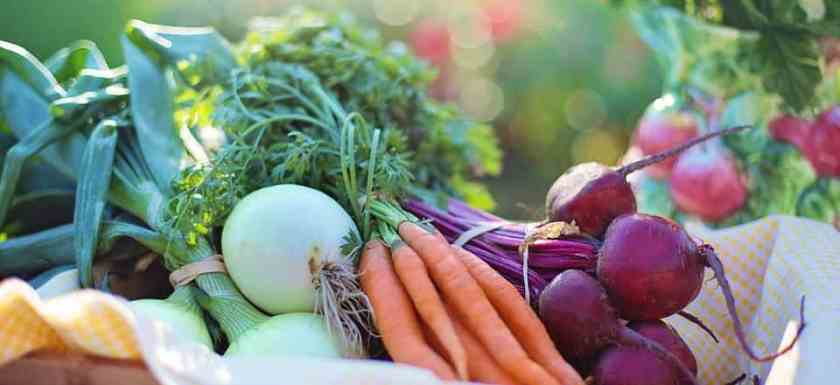 Basket loaded with healthy vegetables