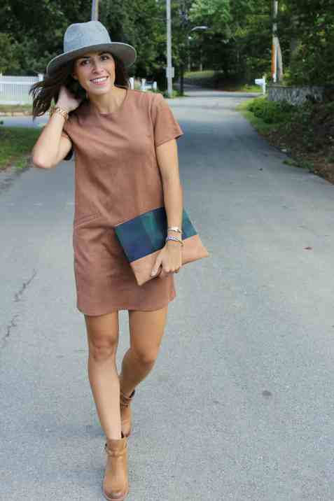 kate, suede dress, hat