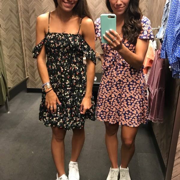 mirror pic, nordstrom, twins, floral dress