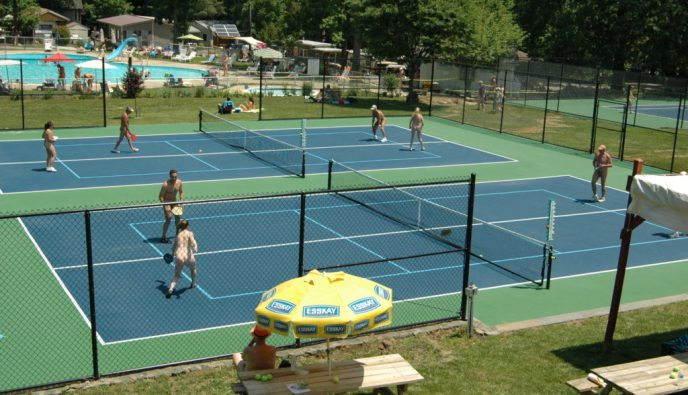 The pickleball and tennis courts at Pine Tree.