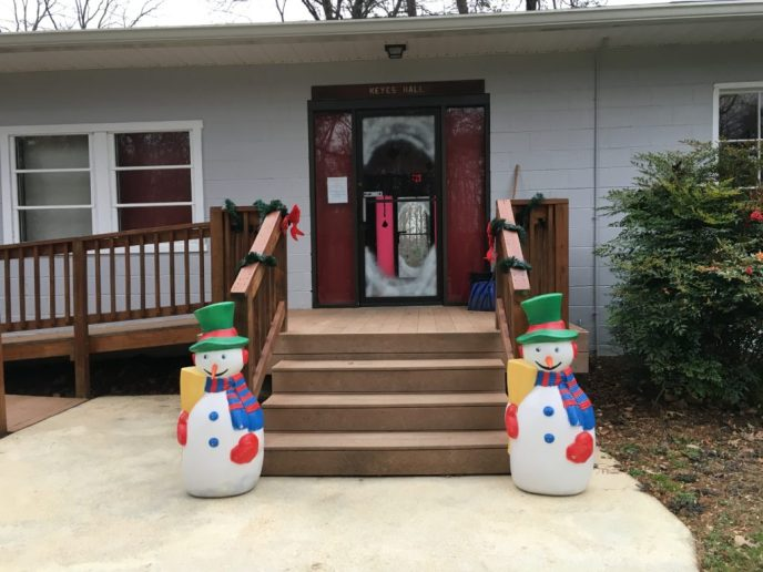 Keyes Hall entrance - Christmas Decorations