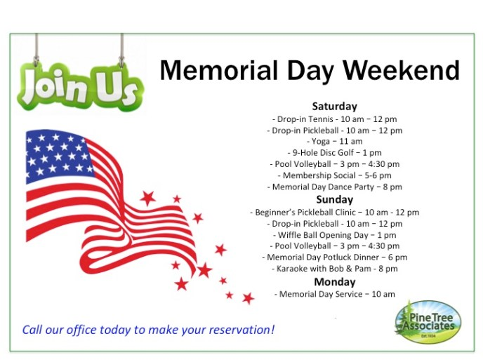 Memorial Day Activities at Pine Tree Associates Nudist Club