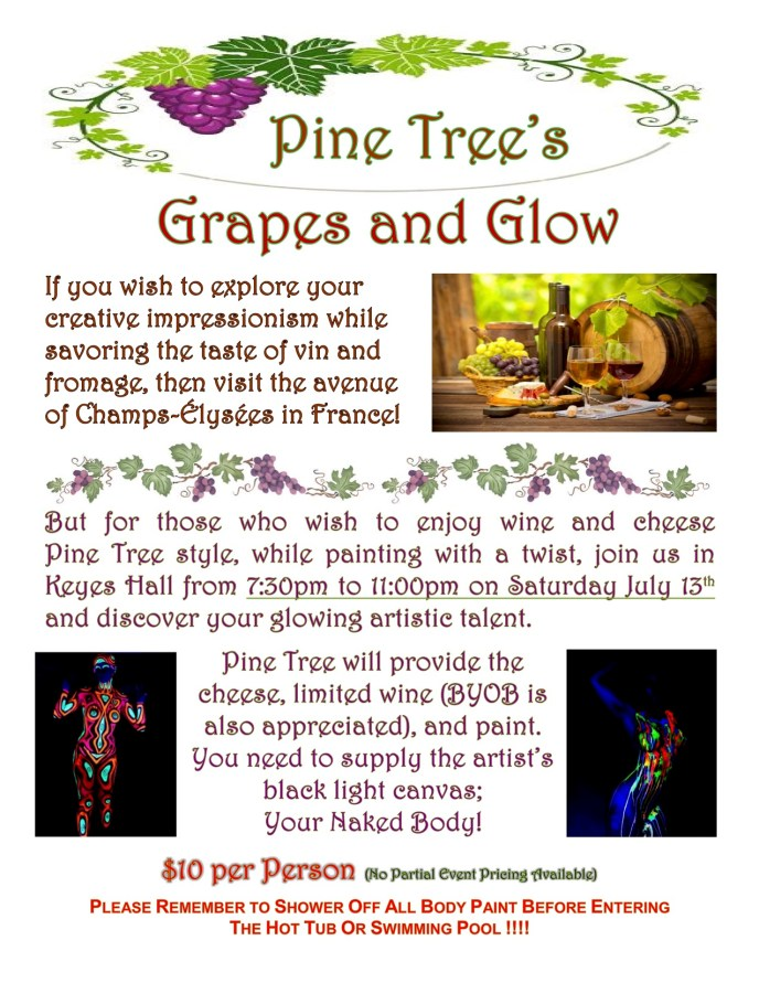 Grapes and Glow - wine and bodypainting party for 2019.