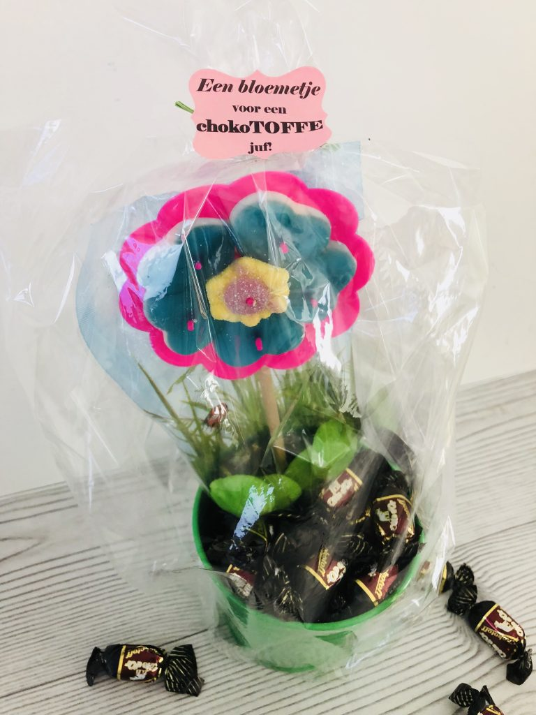 Origineel cadeau voor juf - chocotoff -bloem