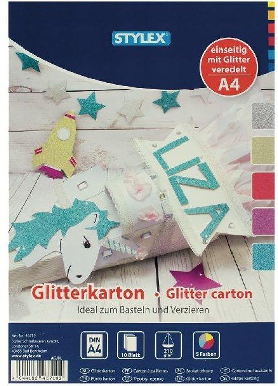 Stylex Hobbyblok Glitterkarton A4 10 Vellen